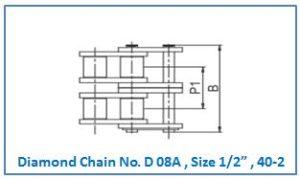 "Diamond Chain No. D 08A , Size 1.2"" , 40-2 ."