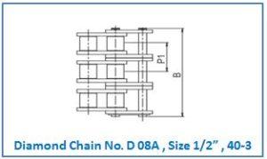 "Diamond Chain No. D 08A , Size 1.2"" , 40-3 ."