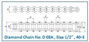 "Diamond Chain No. D 08A , Size 1.2"" , 40-3"