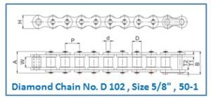 Diamond Chain No. D 102 , Size 5.8 , 50-1.