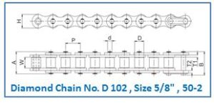 Diamond Chain No. D 102 , Size 5.8 , 50-2