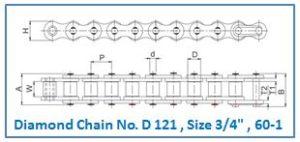 Diamond Chain No. D 121 , Size 3.4 , 60-1