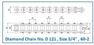 Diamond Chain No. D 121 , Size 3.4 , 60-2