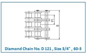 Diamond Chain No. D 121 , Size 3.4 , 60-3 .