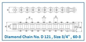 Diamond Chain No. D 121 , Size 3.4 , 60-3