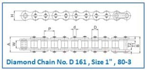 Diamond Chain No. D 161 , Size 1 , 80-3