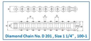 Diamond Chain No. D 201 , Size 1 1.4 , 100-1
