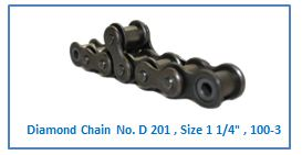 Diamond Chain No. D 201 , Size 1 1.4 , 100-3 .