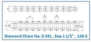 Diamond Chain No. D 241 , Size 1 1.2 , 120-2
