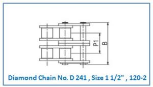 Diamond Chain No. D 241 , Size 1 1.2 , 120-2.