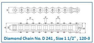 Diamond Chain No. D 241 , Size 1 1.2 , 120-3