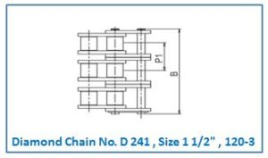 Diamond Chain No. D 241 , Size 1 1.2 , 120-3.