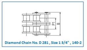 Diamond Chain No. D 281 , Size 1 3.4 , 140-2.