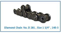 Diamond Chain No. D 281 , Size 1 3.4 , 140-3 .
