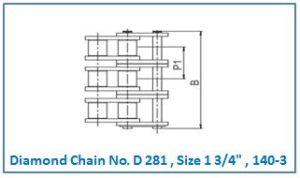 Diamond Chain No. D 281 , Size 1 3.4 , 140-3.