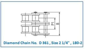 Diamond Chain No. D 361 , Size 2 1.4 , 180-2.