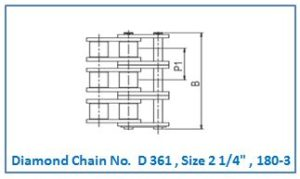 Diamond Chain No. D 361 , Size 2 1.4 , 180-3.