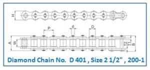 Diamond Chain No. D 401 , Size 2 1.2 , 200-1
