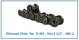 Diamond Chain No. D 401 , Size 2 1.2 , 200-2 .