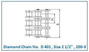 Diamond Chain No. D 401 , Size 2 1.2 , 200-3.