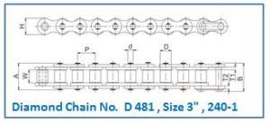 Diamond Chain No. D 481 , Size 3 , 240-1