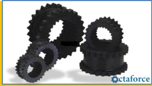 Scraper rubber couplings