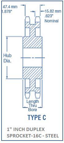 1 INCH DUPLEX SPROCKET-16C - STEEL