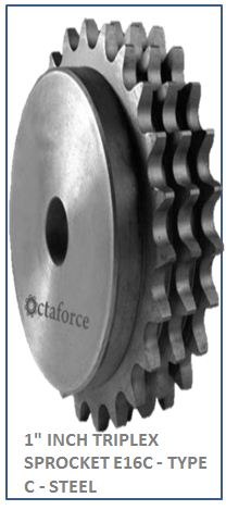 1 INCH TRIPLEX SPROCKET E16C - TYPE C - STEEL 2