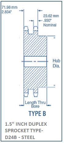 1.5 INCH DUPLEX SPROCKET TYPE- D24B - STEEL