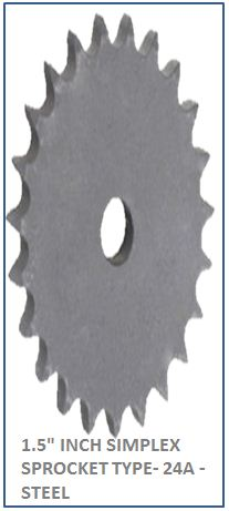1.5 INCH SIMPLEX SPROCKET TYPE- 24A -STEEL 2
