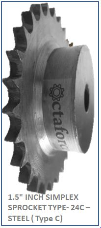 1.5 INCH SIMPLEX SPROCKET TYPE- 24C –STEEL ( Type C) 2