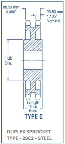 DUPLEX SPROCKET TYPE - 28C2 - STEEL