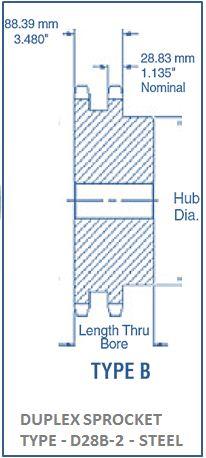 DUPLEX SPROCKET TYPE - D28B-2 - STEEL