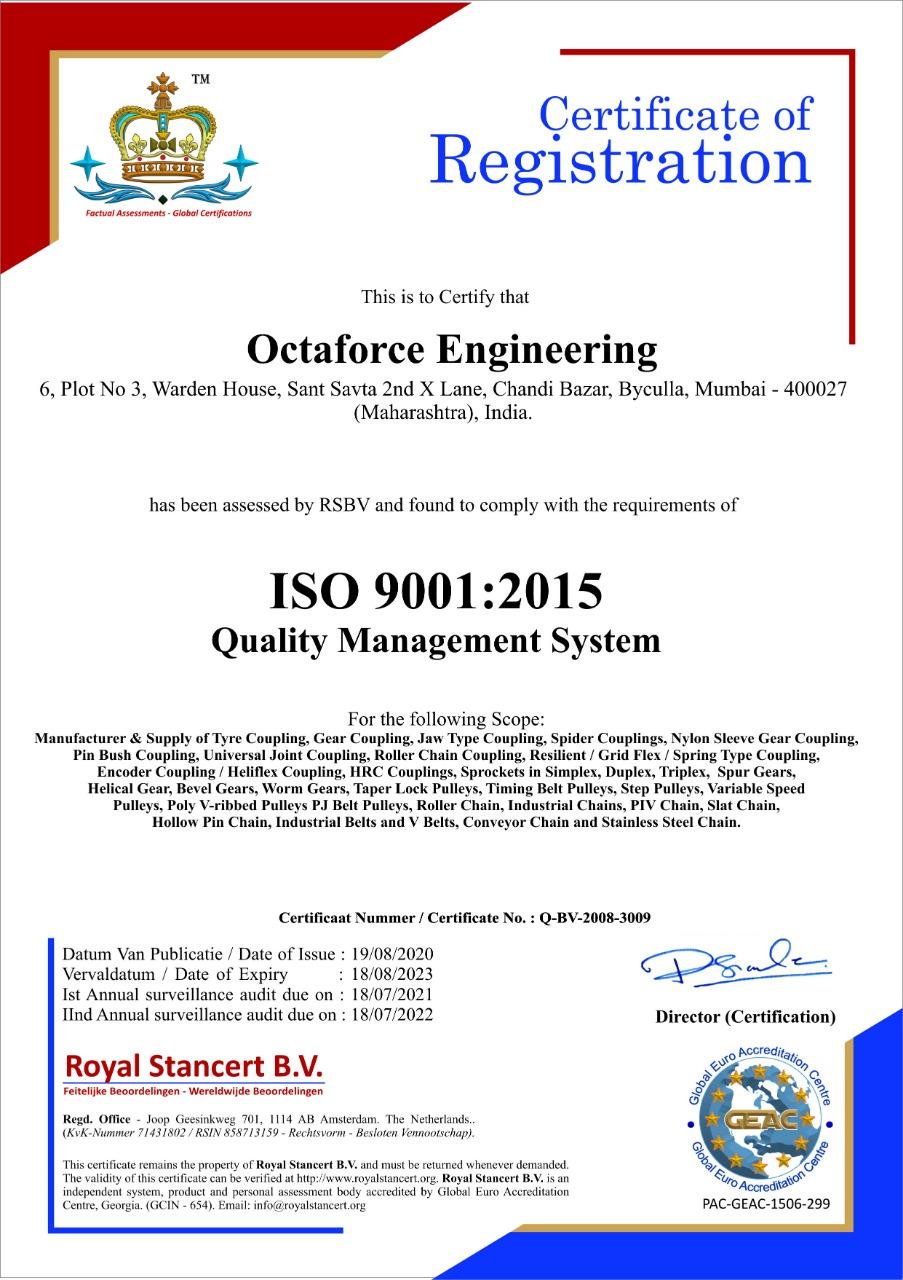 Octaforce Engineering ISO certificate