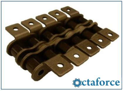 Roller Chain- ANSI Standard Double-Strand Roller Chain – K-1 Attachment